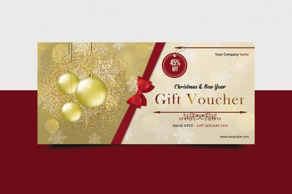Christmas Gift Voucher Template Multipurpose Holiday Card Photo Instant