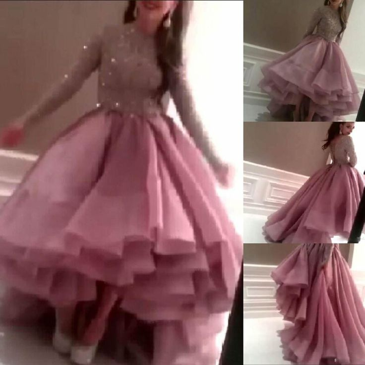 2015 High Low Pink Myriam Fares Dresses Long Sleeve Ball Gown Celebrity Dresses Beaded Asymmetrical Prom Evening Gown CD029-in Celebrity-Inspired Dresses from Weddings & Events on Aliexpress.com | Alibaba Group
