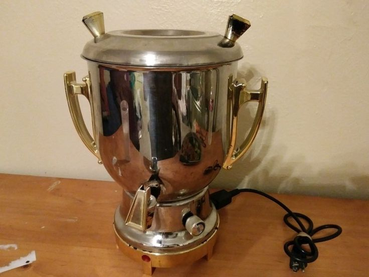 BEEM GERMANY 18/10 SAMOWAR 4.5 L STAINLESS STEEL WITH GOLD, 2005 DG #BEEM