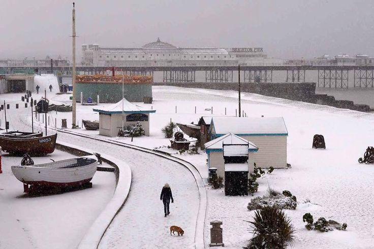 Snow in Brighton East Sussex England