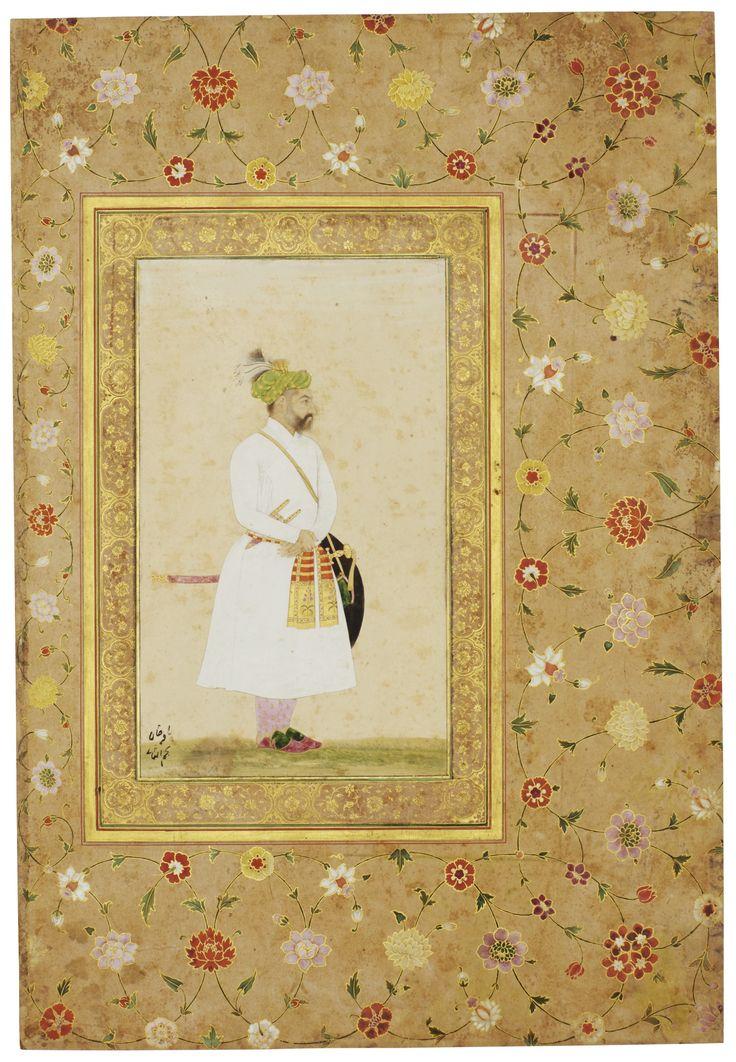"A portrait of Baqir Khan, Mughal, circa 1635, with borders from a royal album made for Shah Jahan, Mughal, circa 1640-58. Gouache with gold on paper, inscription at lower left ""Baqir Khan Najm al-Sani"", floral borders from the Late Shah Jahan Album."