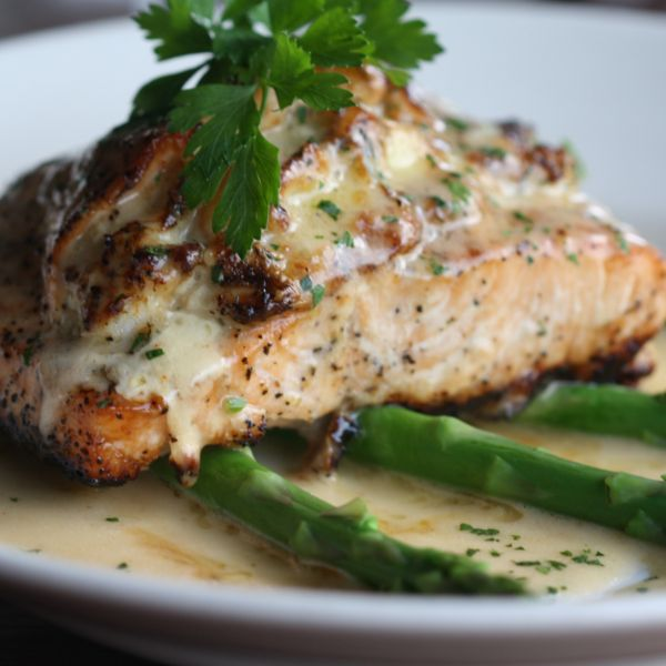 Salmon stuffed with lump crab meat, shrimp and Brie cheese, with lemon ...