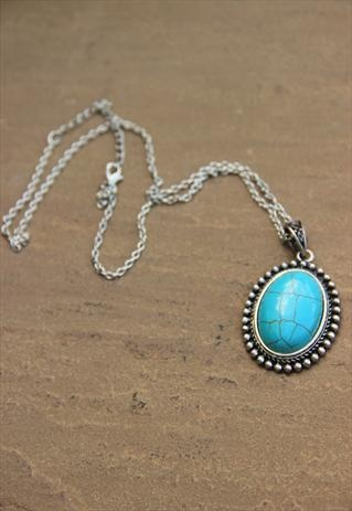 TURQUOISE PENDANT ON SILVER CHAIN from TIQUE, ASOS marketplace