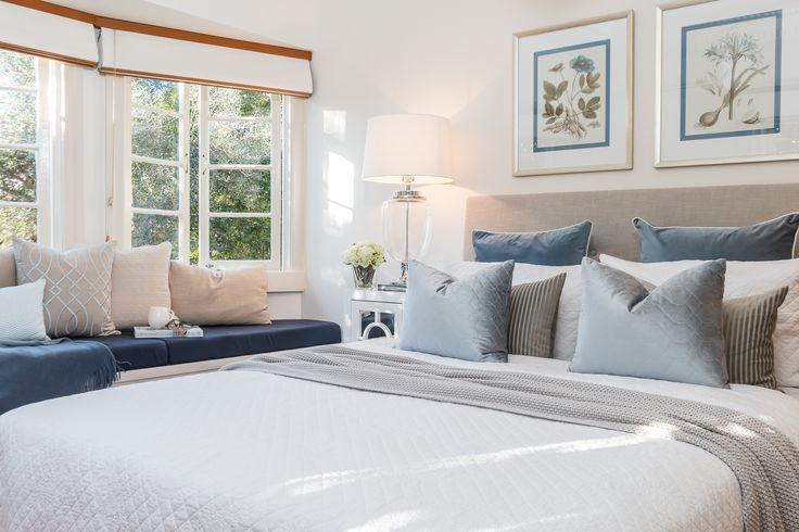 Bedroom styling/duck egg blue/soft blue/window seat