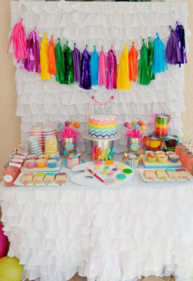 chevron rainbow art party...love the tassel garland  {printables by Anders Ruff} AshleyBro- saw this and thought that ruffle backdrop would be so pretty as a photo booth backdrop for a pretty/femme wedding
