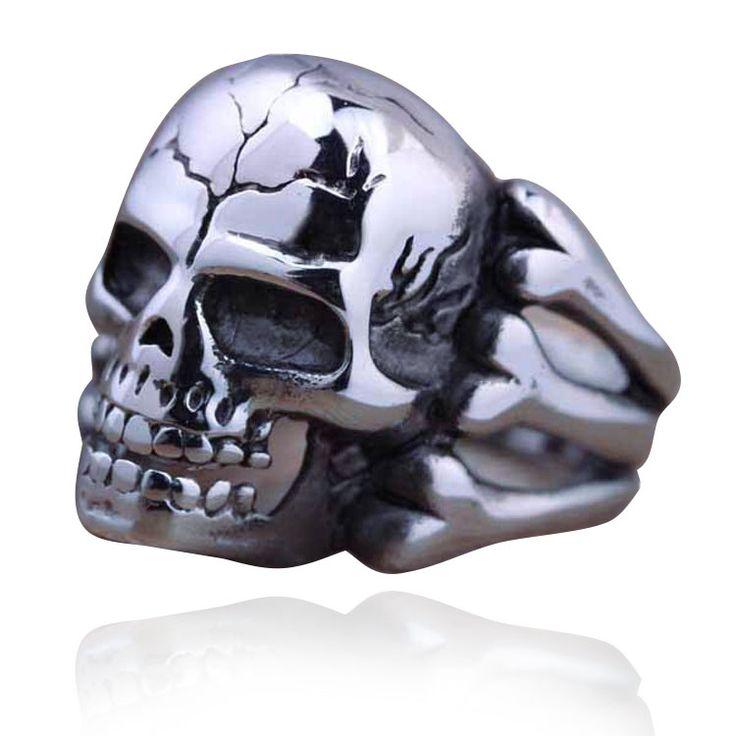 2016 New Fashion Silver Plated Bohemian Punk Vintage Skeleton Jewelry Men's Skull Flower Biker Zinc Alloy Rings For Men Big Ring