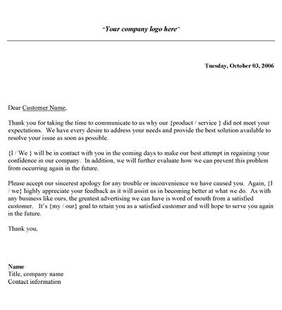 Customer Complaint Response Letter Template