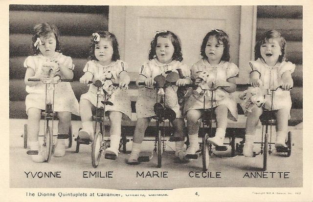 The Dionne Quintuplets born May 28 1934 are the first quintuplets known to survive their infancy. They were born near Callander Ontario. The Dionne girls were born 2 months premature then were made wards of the King for 9 yrs under the Dionne Quintuplets Guardianship Act 1935. The quintuplet sisters: Yvonne Édouilda Marie Dionne, Annette Lillianne Marie Dionne (Allard), Cécile Marie Émilda Dionne (Langlois), Émilie Marie Jeanne Dionne, Marie Reine Alma Dionne (Houle)