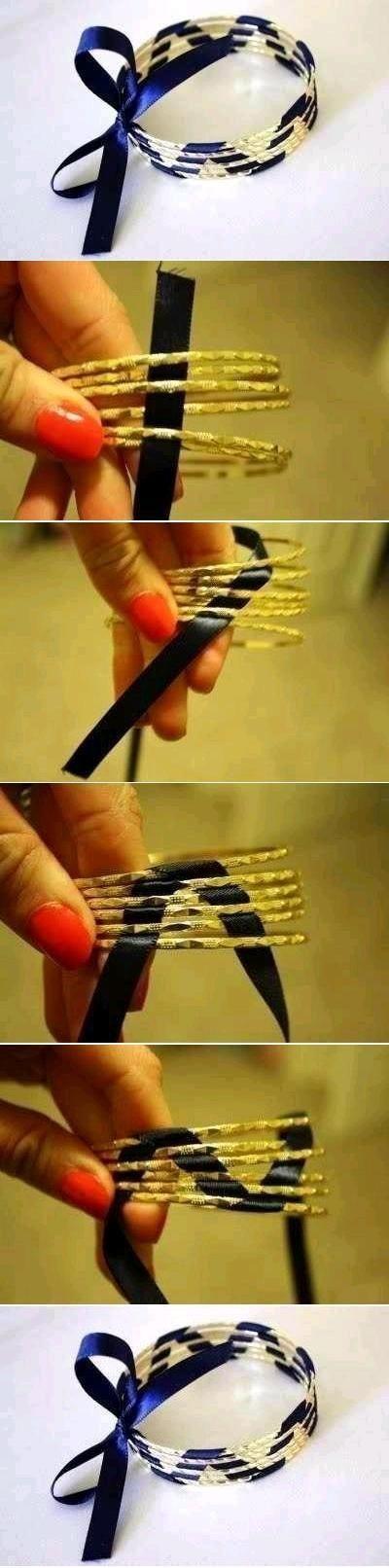 Solmi satiininauhalla ohuista käsirenkaista yksi tuhdimpi käsikoru. Helppo ohje! DIY Bracelet
