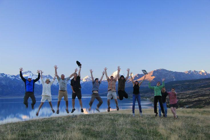 The classic 'jump shot' in front of Lake Pukaki and Aoraki/Mt Cook.
