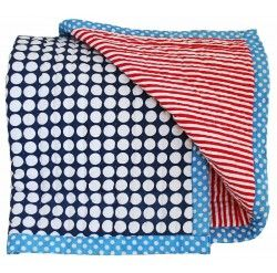 Alimrose Cot Quilt - Blue & Red Stripe - Quilts, Blankets & Wraps