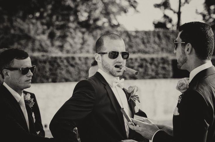 Black and white portrait of groomsmen with cigars   Parkwood Estate, Oshawa   Toronto Wedding Photographer Pedram Navid