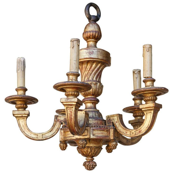 Gilt Hand Carved Five Arm Wooden Chandelier