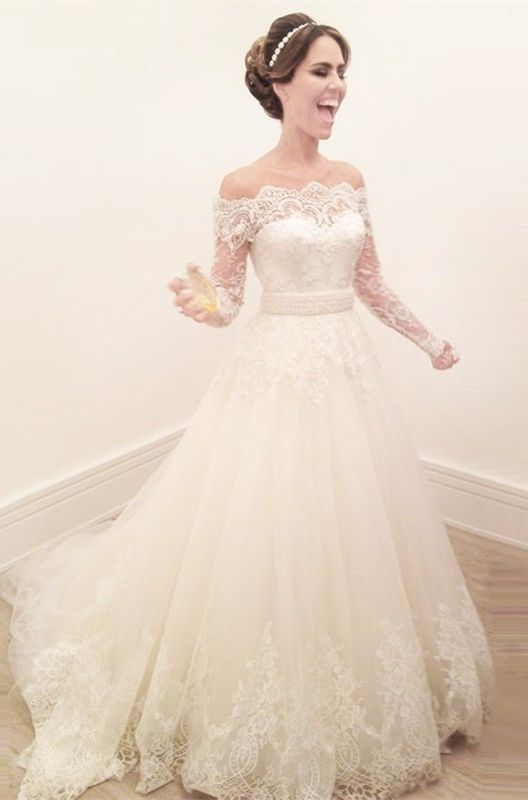 A-line Wedding Dresses,Long Sleeves Wedding Dresses,Wedding Dresses 2017,Cheap Wedding Dresses,Plus Size Wedding Dresses