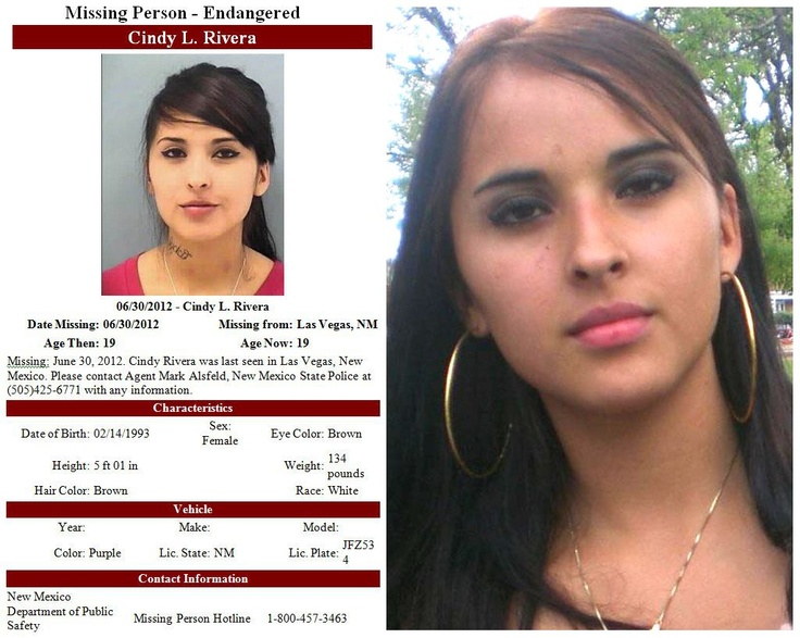 "1/6/2013: Please share to locate Cindy ""Tig""  Rivera (19) missing from Las Vegas, News Mexico since 6/29/2012. Article: The family of a missing young mother have taken matters into their own hands. Posting pictures of the men they think kidnapped and possibly killed the 19-year-old. Cindy Rivera had just pajamas and slippers on when she left her fathers house early in the morning on June 30th. #missing"