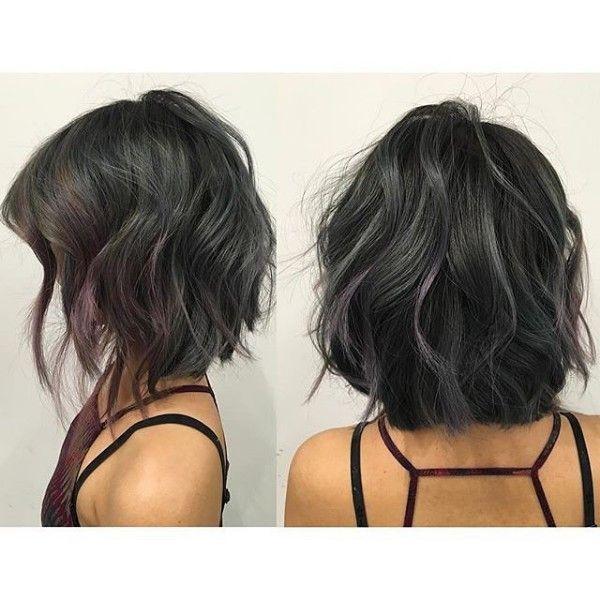 tiny gray and purple highlights on textured bob