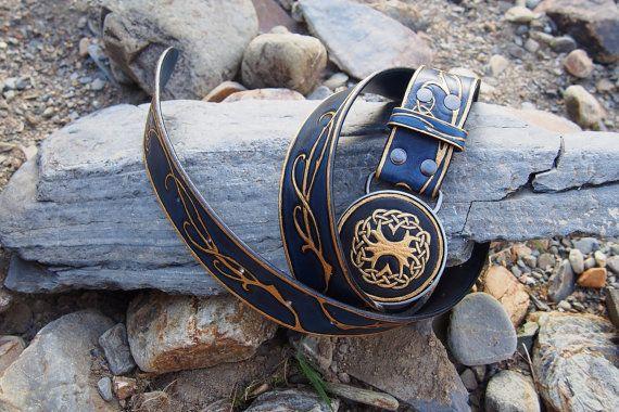 elven belt blu and gold leather elvish belt by PocillatorWorkshop