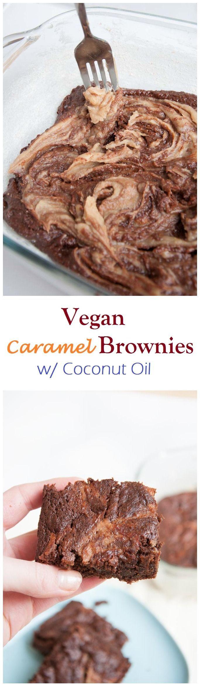 8 Ingredient Vegan Caramel Brownies Recipe w/ Coconut Oil and Homemade Raw Date Caramel | use gf flour