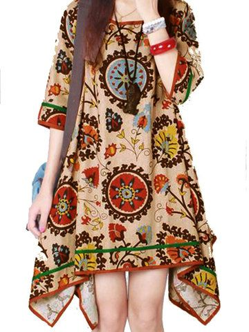 Women O-Neck Totem Printing Irregular Cotton Linen Dress