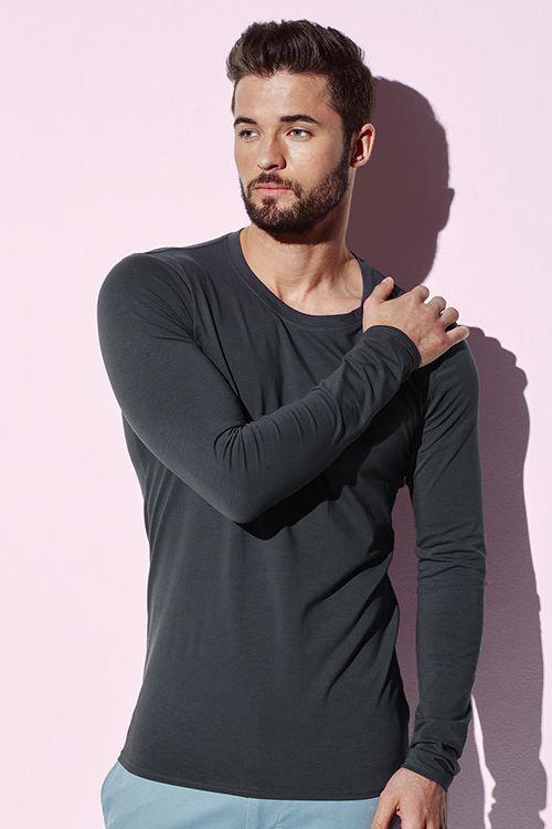 Tricou de bărbați cu mâneca lungă Clive Stedman din 95% bumbac pieptănat, ring spun și 5% elastan #tricouri #barbati #manecalunga #personalizare #brodare #serigrafie #transfertermic