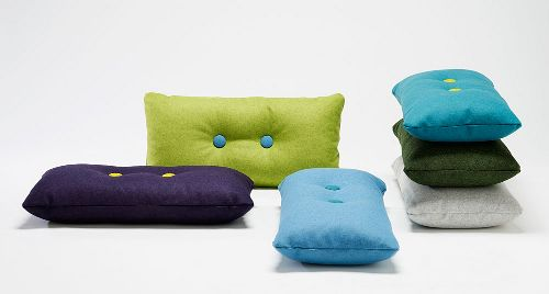 I am determined to make my own version of these!  Anyone know a good tutorial for creating tufted buttons? [Dot Cushions by HAY Denmark]