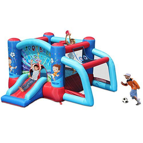 Simple Inflatable Bouncer Jump un Slide Soccer Goal Size x
