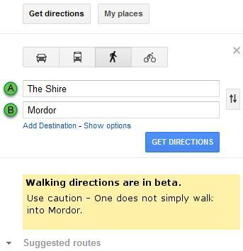 One does not simple walk into Mordor.: Work, Google Maps, Walks, Mordor, Walking Directions, Funny Stuff