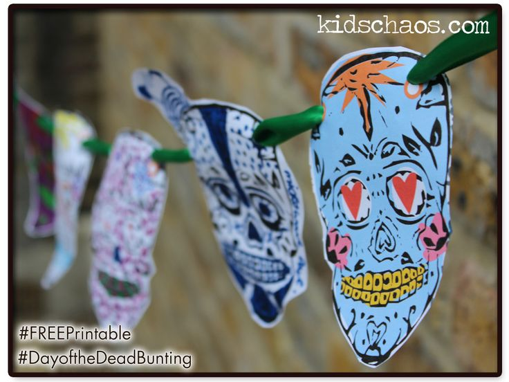 Day of The Dead skull bunting FREE printable