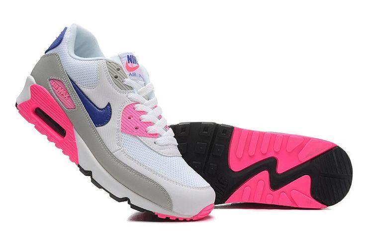 the best attitude f6c44 1588c ... greece zapatos nike air max 90 essential mujer blanco rosa lobo gris  azul de la medianochetuogs8