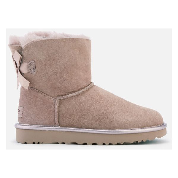 UGG Women's Mini Bailey Bow II Metallic Sheepskin Boots - Dusk ($225) ❤ liked on Polyvore featuring shoes, boots, ankle booties, ankle boots, pink, flat booties, short flat boots, pink ankle boots, bootie boots and ugg® bootie