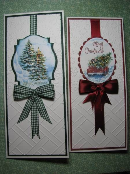 two handmade Christmas card ... tall and thin format ... luv the elegant look and ribbon/bow treatment ... matted die cut labels with sponged and stamped Christmas images ...