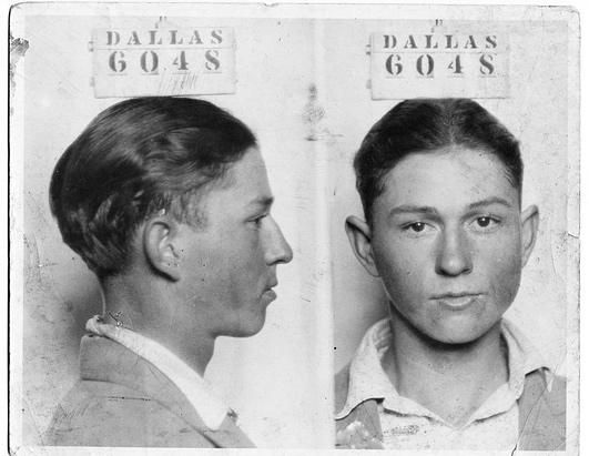 Clyde Barrow, one half of the notorious gangster duo Bonnie and Clyde, is shown as a teenager in a Dec. 3, 1926, mug shot from the Dallas Police Department files. He was charged with auto theft, but according to later records the indictment was dismissed.