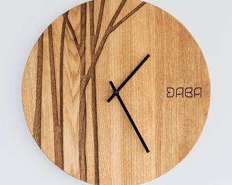 Modern Wall Clock / Custom Wedding or Anniversary Clock / Gorgeous Wall Decor / Custom Engraving / PAULIS / Made by DABA