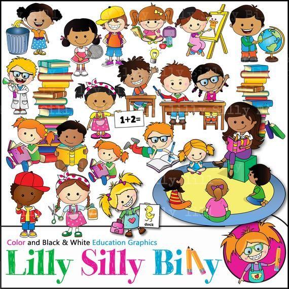 School Day Clipart Bundle Children Learning Spelling Etsy Kids Learning Clip Art Education Clipart