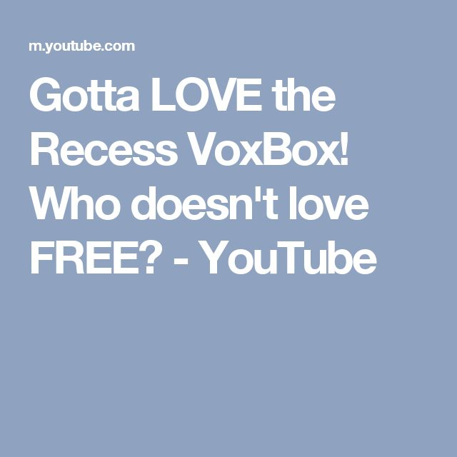 Gotta LOVE the Recess VoxBox! Who doesn't love FREE? - YouTube