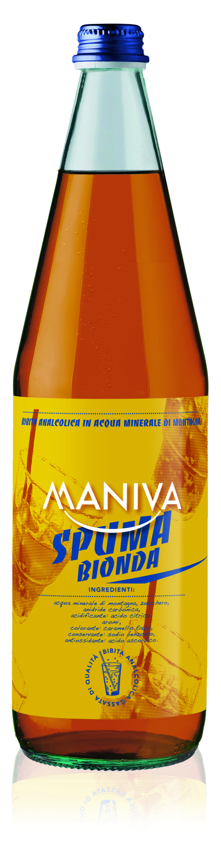 SPUMA BIONDA Bibita analcolica frizzante, di alta qualità garantita anche dalla leggera acqua minerale di montagna di cui è composta
