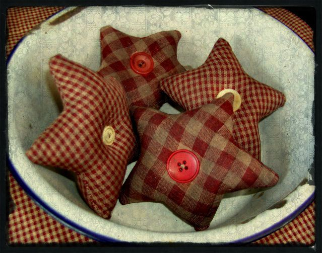 Primitive Homespun Star Ornies-Bowl Fillers