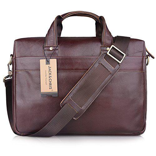 nice Jack&Chris®Men's Leather Briefcase Laptop Bag Messenger Shoulder Bag Handbag,NM7232