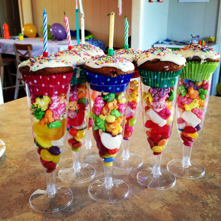 Birthday cake and lollie cups, perfect for individual serves and easy to pre assemble. Lots of fun for the kids and colourful presentation!