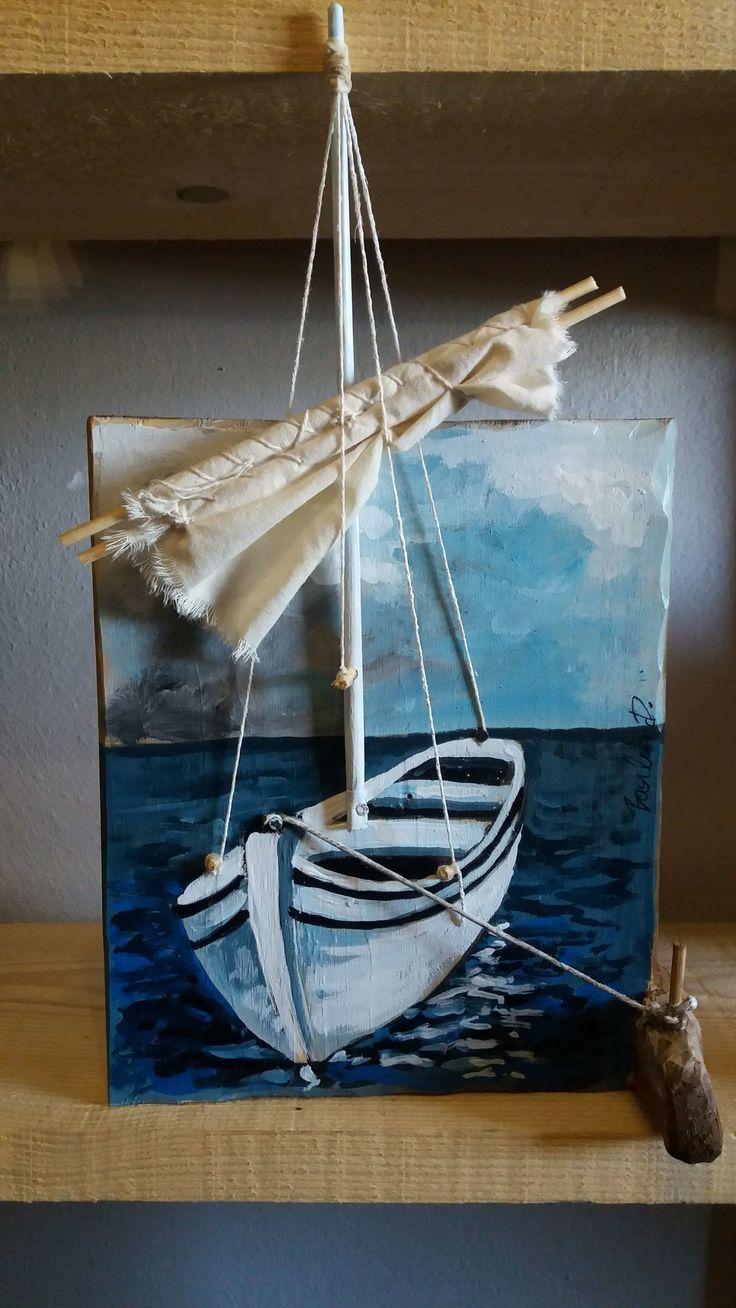 Original Acrylbild auf Altholz. Boot – Arcadia Ego Studios
