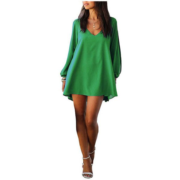 Women's Sexy Womens V-neck Loose Irregular Hem Chiffon Short Beach... (25 BRL) ❤ liked on Polyvore featuring dresses, green, v neck short dress, short beach dresses, sexy v neck dress, v neck chiffon dress and v neckline dress