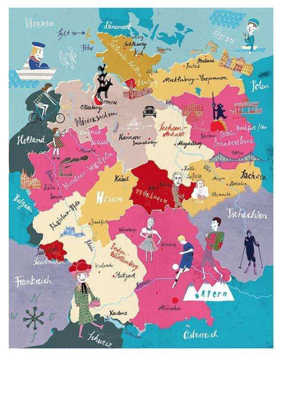 New Deutschlandkarte Weltkarte f r Kinder illustriert mit tollen Zeichnungen Anne Lehmann Plakat poster