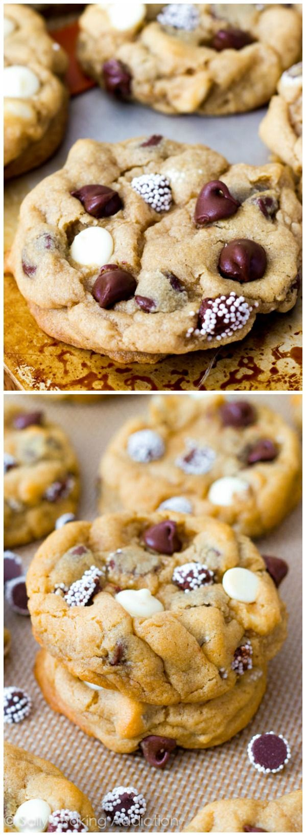 Soft-Baked Triple Chocolate Chip Cookies -super soft, extra thick, and FULL of chocolate!