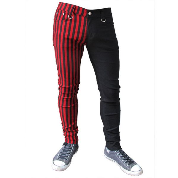 Mens Red Black Striped Split Leg Slim Skinny Jeans ❤ liked on Polyvore  featuring men's fashion - Best 10+ Mens Stretch Skinny Jeans Ideas On Pinterest Skinny Fit