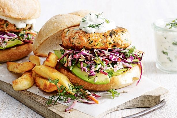 Salmon and dill burgers with kale coleslaw main image