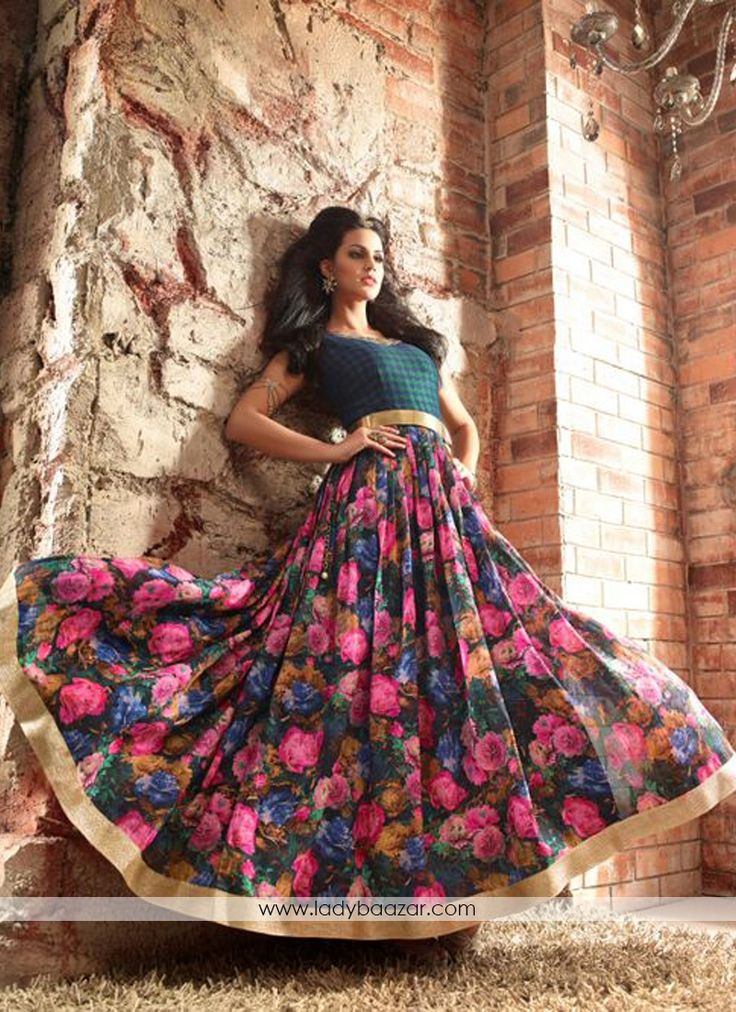 Attractive Banarasi Multi Colour Floral Anarkali Suit #Banarasi #SalwarSuit…