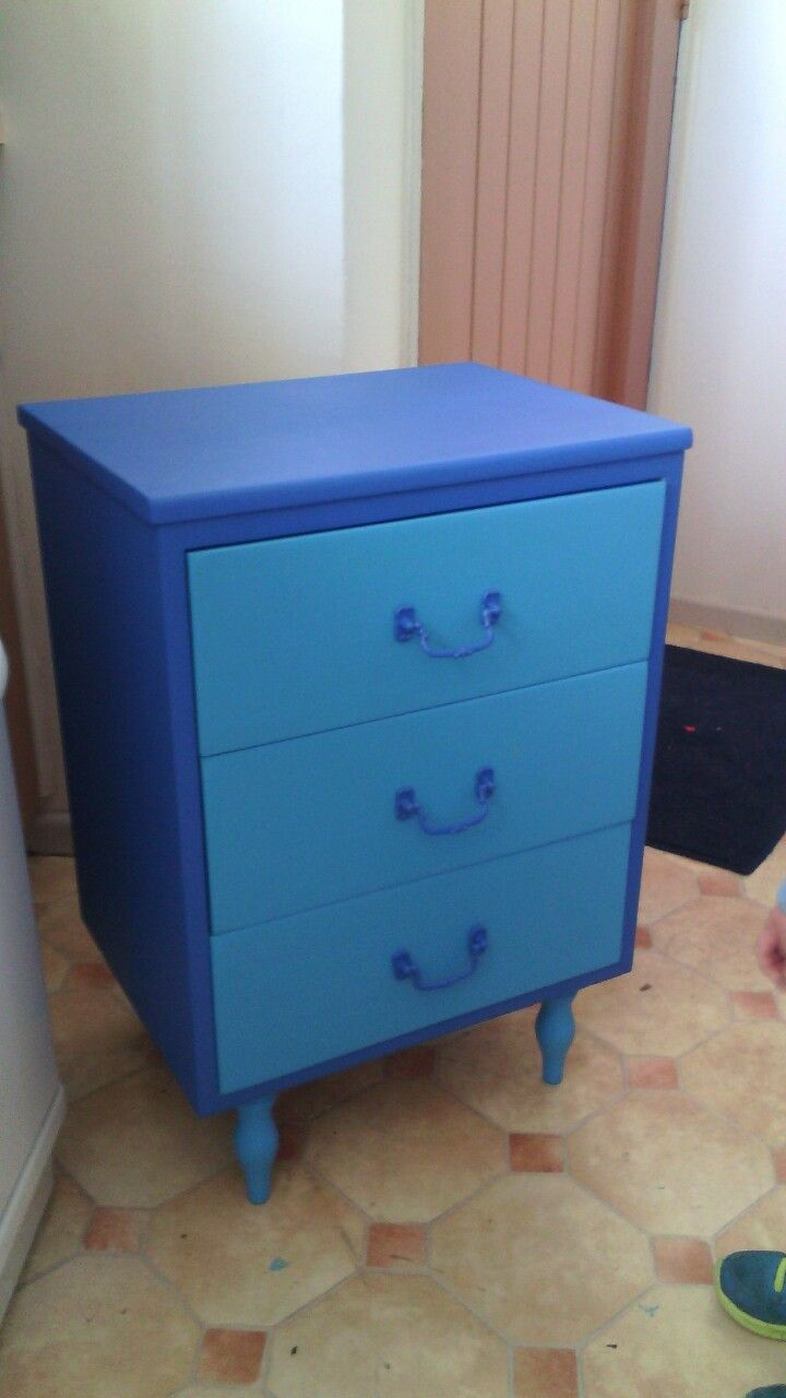 Bedside draws I painted,DIY, sanded and painted blue.
