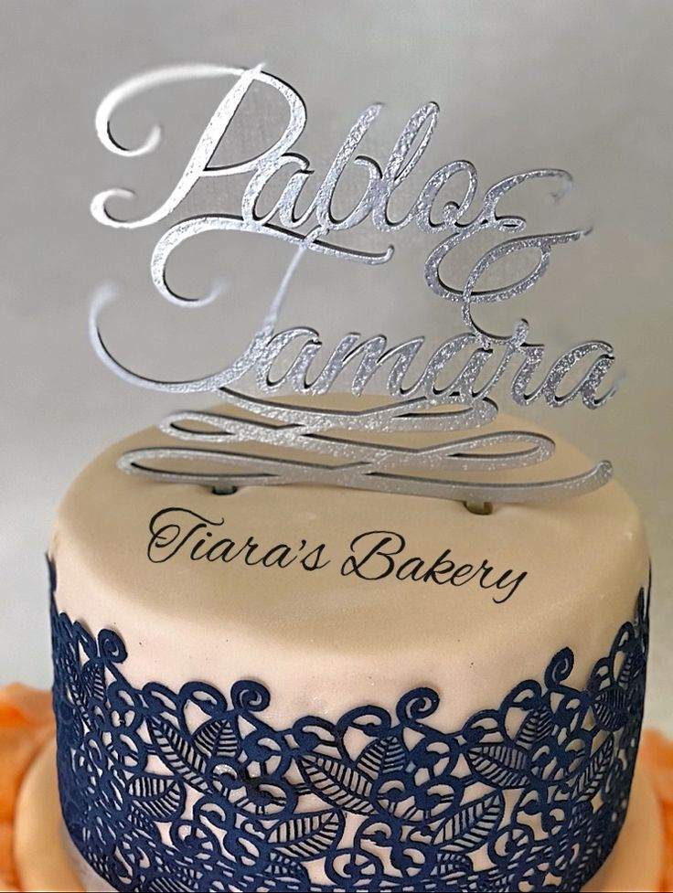 Wedding Cake  navy blue and coral by Tiara's Bakery Switzerland