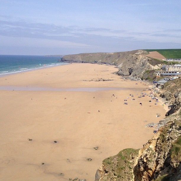 This is Watergate beach where the Watergate Bay Hotel is situated....and yes it is that stunning! The food is superb, the staff friendly and it's well worth a visit....