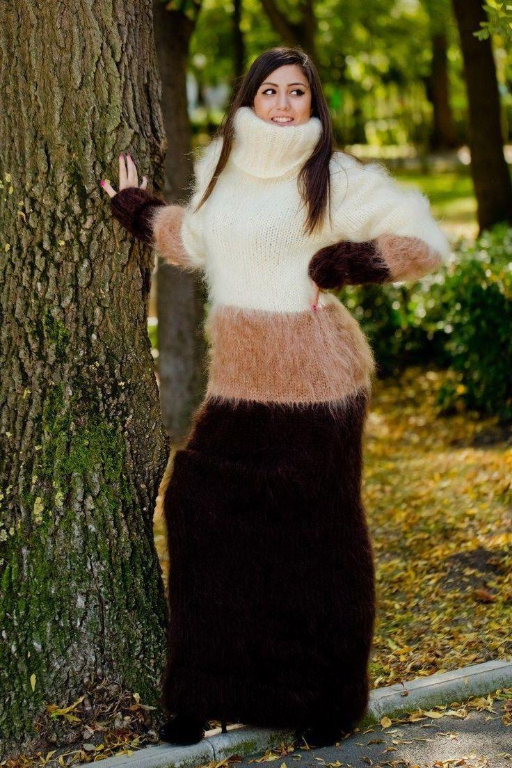 Custom Order T Neck Mohair Dress,Hand Knitted Robe,Maxi Turtleneck Dress T166 | eBay